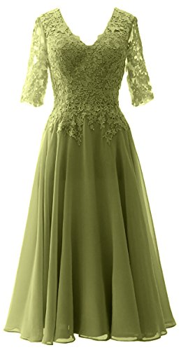 MACloth Elegant V Neck Mother of the Bride Dress Lace Formal Party Evening Gown Olive Green