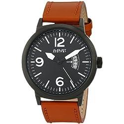 August Steiner Herren 43.5mm Braun Leder Armband Edelstahl Gehäuse Uhr AS8012TN