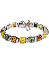 Multicolor Amber Sterling Silver Square Stones Bracelet 18 cm