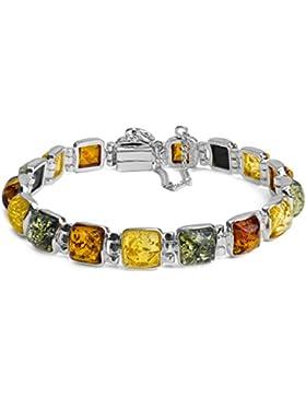 Noda Damen-Armband Sterling-Silber 925 Bernstein 18 cm