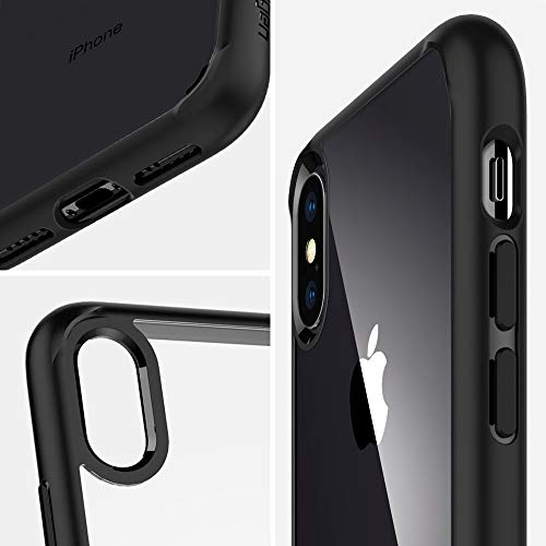 Spigen Coque iPhone XS Max, Coque iPhone Max [Ultra Hybrid] AIR Cushion/Clear Back Panel + TPU Bumper/Reinforced Camera Protection Coque - [Matte Noir]
