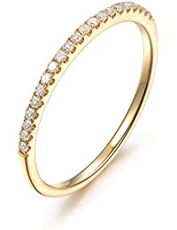 0.15 Carat Round Diamond Thin Micro Pave Set Half Eternity Ring in Yellow Gold
