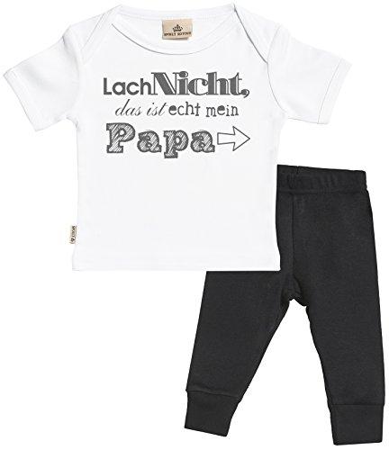 SR - Lach Nicht das ist echt mein Papa Baby Set - Weiß Baby T-Shirt & Schwarz Baby-Jerseyhose - Baby T Shirt & Baby Hosen Babyoutfit - 6-12 Monate