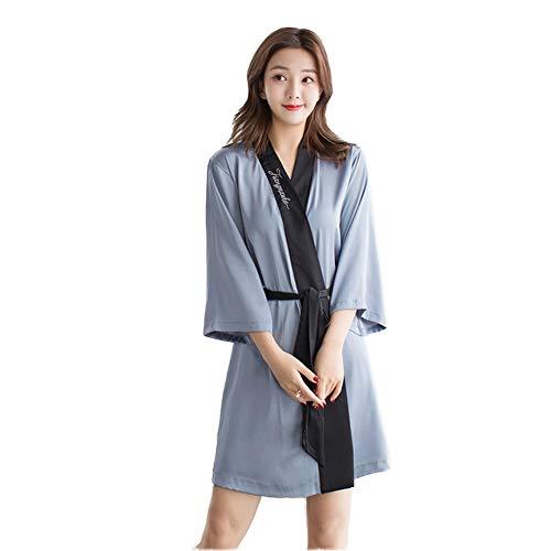 FOTEE Damen Morgenmantel Satin Kimono, Weich Nachthemd Nachtwäsche V Ausschnitt Robe Pyjama mit Gürtel Satin Kimono Bademantel,Light Blue_L