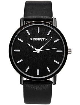 JSDDE Armbanduhr Wasserdicht Einfach Business Uhr Modisch Zeitloses Design Quarzuhr Matt Wähl PU Lederband schwarz