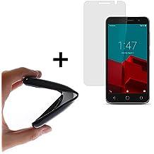 WoowCase | Funda Gel Flexible para [ Vodafone Smart Prime 6 ] [ +1 Protector Cristal Vidrio Templado ] Ultra Resistente contra Arañazos y Golpes Dureza 9H, PACK Carcasa Case Silicona TPU Suave Negra