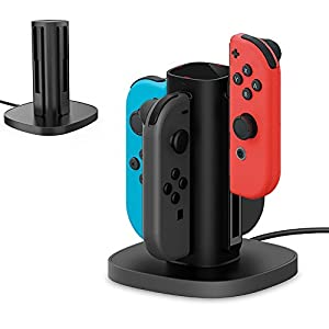 TealTech Nintendo Switch Joy-Con Ladestation 4 in 1 Joy-Con Ladestation Dock mit individueller LED-Anzeige (Schwarz)