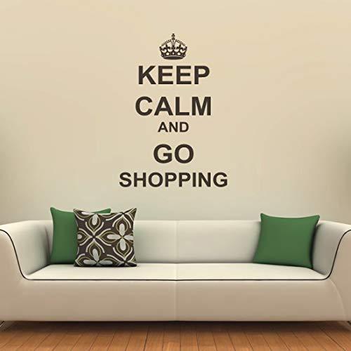 Behalten sie ruhe und gehen einkaufen vinyl zitate wohnzimmer abnehmbare diy wandaufkleber adesivo de parede kunstwandhauptdekoration z 41x88 cm