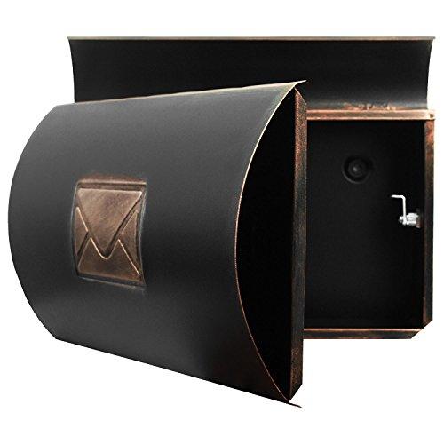 Wand Briefkasten Wandbriefkasten Postkasten Mailbox mit Zeitungsrolle Zeitungsfach Zeitungsbox / Bronze - 5