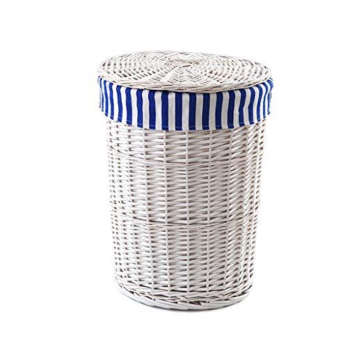Unbekannt QIQIDEDIAN Schmutziger Korb-Speicher-Korb-großer Haushalt mit Weiden-Abdeckungs-Rattan kleidet Spielzeug-Speicher-Weiß 42 * 53cm (Color : Blue Stripes)