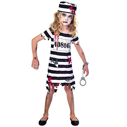amscan Zombie-Gefangene Kostüm für Mädchen Halloween schwarz-Weiss 146/152 (11-12 - Gefangener Kostüm Halloween
