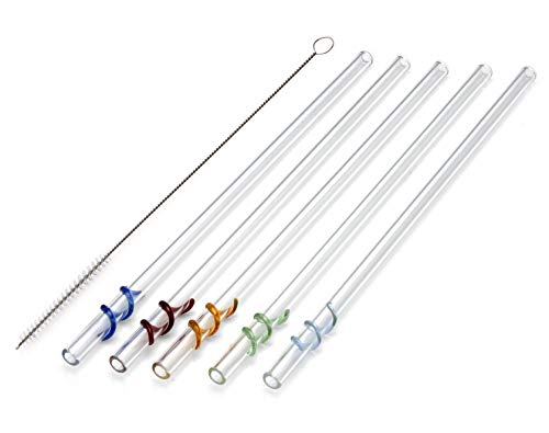 STRAWGRACE® Glas-Strohhalme farbig mit bunten Spiralen, handgefertigt - unabhängig in DE geprüft - 5er Set mit 2 Bürsten - Glas-Trinkhalme aus Laborglas - Glasstrohhalme: ideal für Smoothie 23cm x 8mm