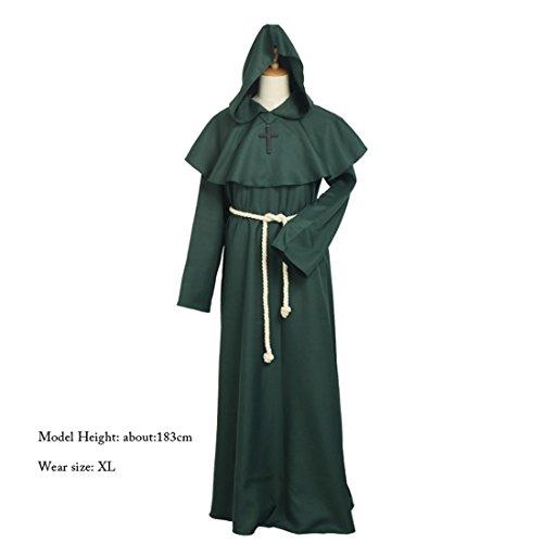 BLESSUME Priester Mönch Kostüm Robe Mönch Mittelalterliche Kapuze Kapuzenmönch Renaissance Robe Kostüm (Grün, L) (Robe Mönch Erwachsene)