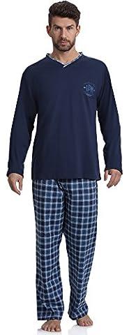 Cornette Ensemble de Pyjama 124 2016(Navy/Jeans(LDN 2), S)