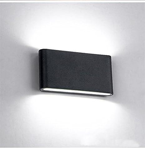 Glighone Applique Murale Extérieur Intérieur Moderne Étanche IP65 LED 12W Up Down en Aluminium Lumière Décoratif pour Chambre d'enfant Jardin Terrasse Guinguette Couloir Restaurant Noir Blanc Froid