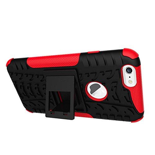 MOONCASE iPhone 7 Coque, Double Couche d'Armure Lourde Case Hybride Anti-dérapante Absorbant Chocs Protection Étui avec Béquille pour Apple iPhone 7 Rose Vert