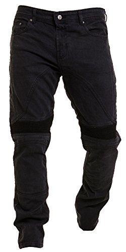 Qaswa Herren Motorradhose Jeans Motorrad Hose Motorradrüstung Schutzauskleidung Motorcycle Biker Pants, Jet Black, 36W / 32L