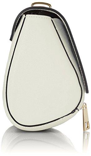 CTM Borsetta a spalla da Donna stampa Saffiano, tracolla regolabile, vera pelle made in Italy - 18x17x10 Cm Beige