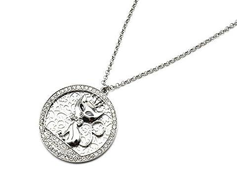 cl1230e Halskette Anhänger Kreis Durchbrochenes Katze Metall und Contour Strass Silber–Modus Fantasie
