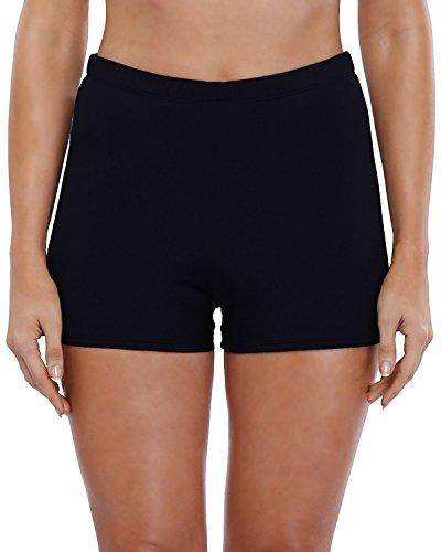 Attraco Damen Badehose Boardshort Damen Hotpants Bikini Hose Schwarz S