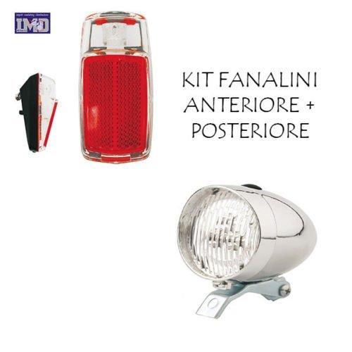 KIT Fanale Luce Anteriore + Fanale Posteriore a LED ideale bicicletta Olanda - R - Graziella - Vintage - City Bike - Uomo / Donna - BATTERIE INCLUSE