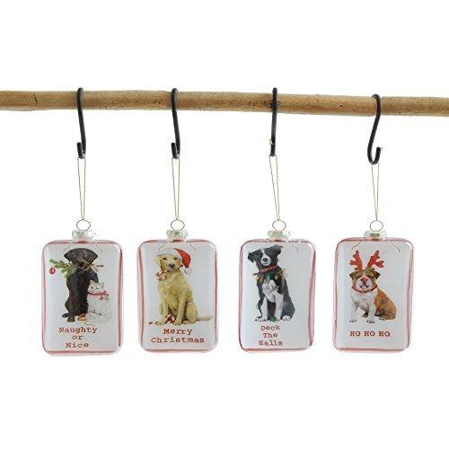 on 4Shadowbox Glas Hund 15,2cm H Hänger Weihnachten Ornaments ()