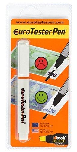 EUROTESTERPEN  XL es un rotulador Detector de billetes falsos muy fácil de usar, gracias a la solución química especial que contiene, es capaz de verificar la autenticidad de los billetes de EUROS y de las principales divisas del mundo. La primera y ...