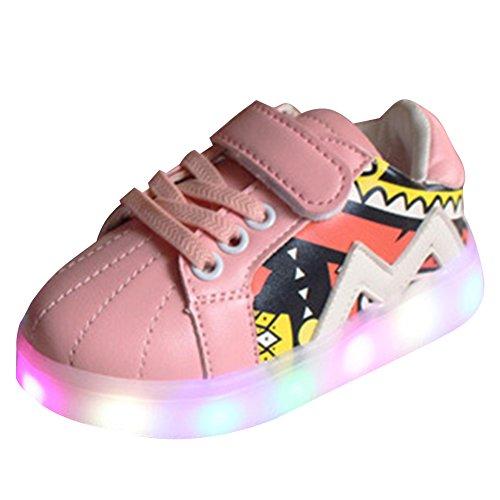 Highdas Paire de baskets à LED pour les premiers pas de bébé Rose
