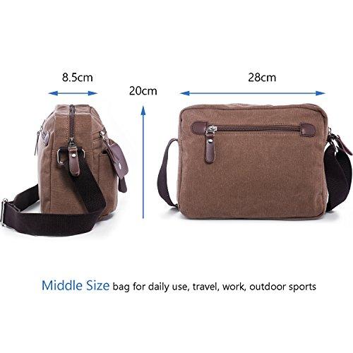 Hengwin Männer Retro Leinwand Schultertasche Herren Tasche Handtasche mit Vielen Fächern für Reisen Arbeit (Schwarz) Braun