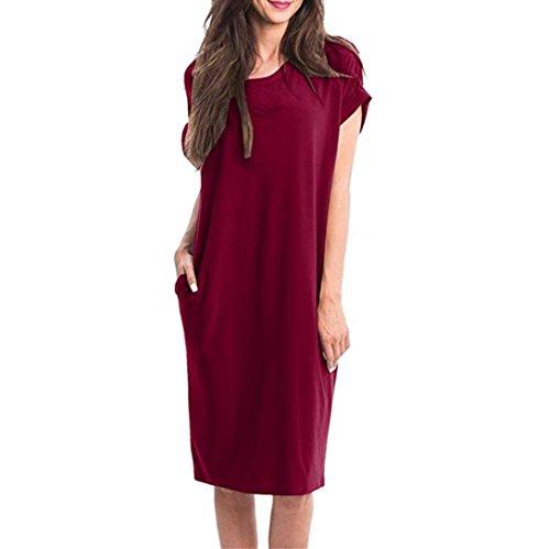ESAILQ Damen Vintage Sommerkleid Traeger mit Flatterndem Rock Blumenmuster Frauen Rundhals Casual Loose T-Shirt Kleid(XXL,Wein)