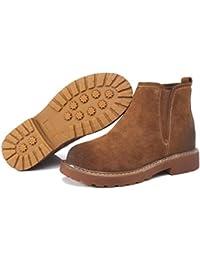 Xianshu Retro round toe bottes Martin chaussures respirantes Cour (Brown-37.5 EU)