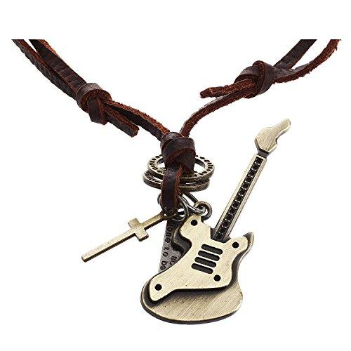 Halskette - TOOGOO(R) Schmuck Herren Damen Halskette, Gitarre Kreuz, Verstellbaren Groessen Legierung Anhaenger mit Leder Kette, Braun