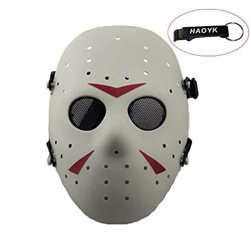haoYK Gesichtsmaske, Hockeymaske im Stile von Jason Vorheese, Schutzmaske als Kostüm für Halloween und Partys (Men's Hockey Kostüm)