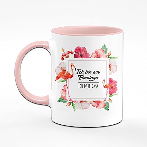 Flamingo Tasse - Ich Bin Ein Flamingo Ich DARF Das! - Kaffetasse Rosa - lustige Tassen - Geschenkideen für Frauen - Flamingo Rahmen - 2