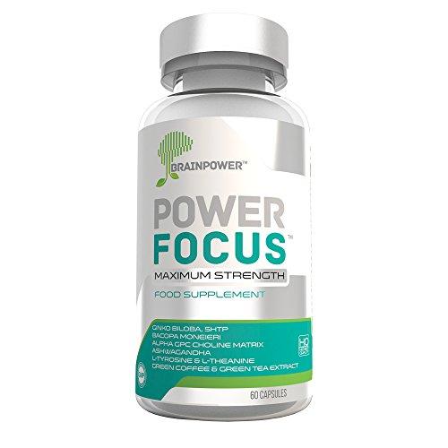 PowerFocus® #1 Nootropic Herbal Brain Supplement for Mental Focus, Concentration and Memory | Alpha GPC, Bacopa (20% Bacosides), Theanine, Guarana, Ashwagandha (5% Withanolides), Korean Ginseng (8% Ginsenosides), 5HTP, Ginko Biloba, Green Tea, Magnesium, Vitamin B12, Multivitamin | For Students, Entrepreneurs, Men, Women, Athletes, Elderly | 30 Day Money back Guarantee