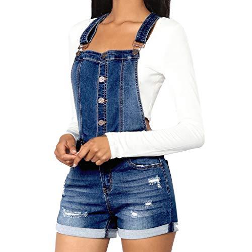 Ansenesna Hosenanzug Jeans Damen Kurz Sommer Elegant Latzhose Frauen Zerissene Vintage Casual Denim - Denim Romper Kostüm