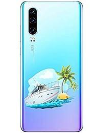 Oihxse Funda Huawei Y5 2019, Ultra Delgado Transparente TPU Silicona Case Suave Claro Elegante Creativa Patrón Bumper Carcasa Anti-Arañazos Anti-Choque Protección Caso Cover (A6)