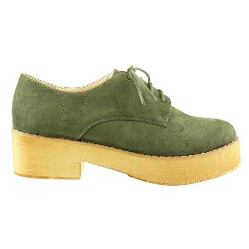 Angkorly - Scarpe Da Donna Derby-scarpe - Scarpe Con Plateau - Tacco Blocco Cucito Rifinito 5 Cm Verde