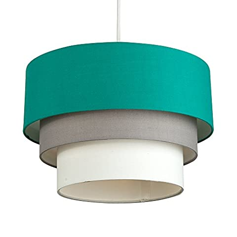 Beautiful Round Modern 3 Tier Turquoise Teal, Grey and White Fabric Ceiling Designer Pendant Lamp Light Shade