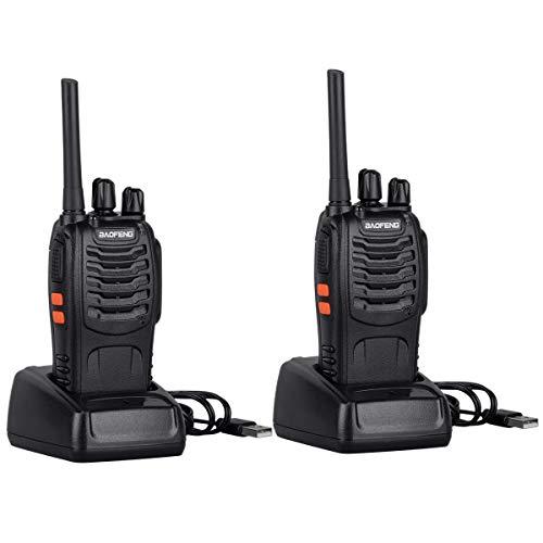 Tyhbelle BF-88E PMR Funkgerät Set, PMR 446 MHz Walkie Talkie 16 Kanäle 3KM Reichweite Handfunkgerät mit USB Anschluß LED-Taschenlampe Sprechfunkgerät mit Headset und Akkus (88E - 2er Pack) -