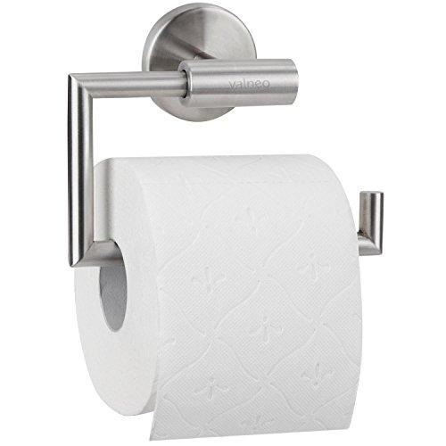 VALNEO Design Toilettenpapierhalter aus Edelstahl, gebürstete Oberfläche, matt | 2 Jahre Zufriedenheitsgarantie | Klopapierrollenhalter / Klopapierhalter Toilettenpapier-halter-chrom Wand