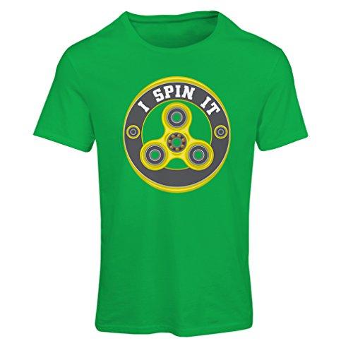 T-shirt femme I Spin it - pour les fans de jouets Fidget Hand Spinner (Medium Vert Multicolore)