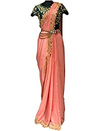 Kaavi Fab Women's Chanderi Silk Peach Thread Work Designer Saree