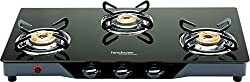Hindware Armo GL 3B AI BLK Stainless Steel 3 Burner Cooktop, Black