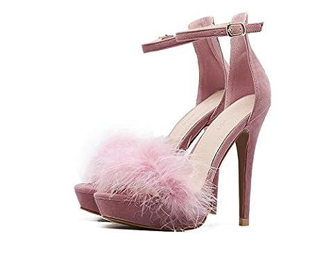Pumps Sandalen Plattform High Heels Stiletto Ferse Open-Toe Knöchelriemen Scrub Plain Schwarz Rosa Frauen Sandalen Europa Standard Größe 35 36 37 38 39 40 , pink , (Rosa Pebbled Leder)