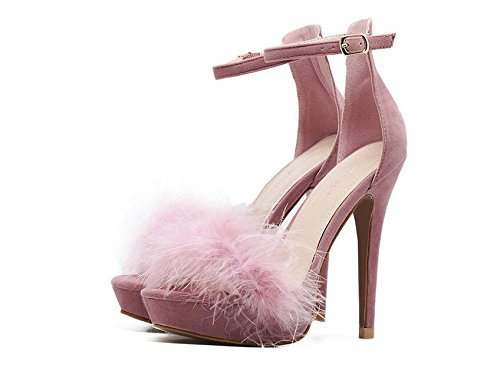 Sandali delle pompe della piattaforma tacchi alti tacco a spillo Open-toe cinturini alla caviglia Scrub Plain Nero Rosa Donna Sandali Europa formato standard 35 36 37 38 39 40 Pink