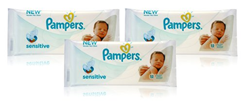 3x Pampers SENSITIVE BABY WIPES Handy Travel Size Convenience 12 WIPES PER PACK 41OT 2Bp2H9qL