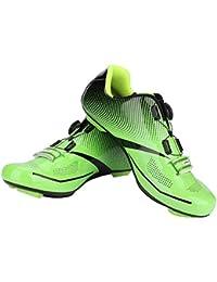 Alomejor 1 par de Zapatos de Ciclismo de Moda Antideslizantes SPD Lock System Zapatos de Ciclismo Transpirable Zapatos de Bicicleta de Carretera Hombres Adultos(40-Green)