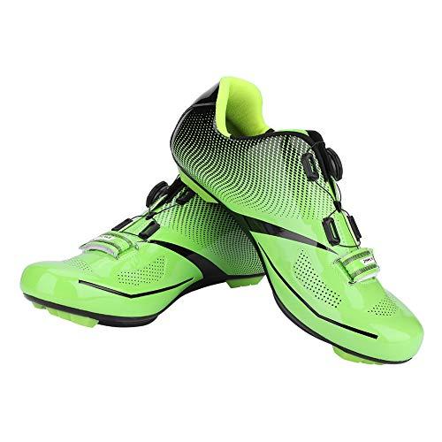Alomejor Scarpe da Ciclismo Uomo con Sistema di Blocco Scarpe Anti-Skid da Bici da Strada Traspiranti per MTB(44-Verde)