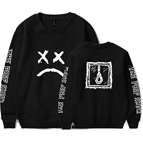 JJZHY Emo Trap Lil Peep Rundhalsausschnitt Plus T-Shirt mit Samtärmeln Unisex,Schwarz,M - Emo T-shirt